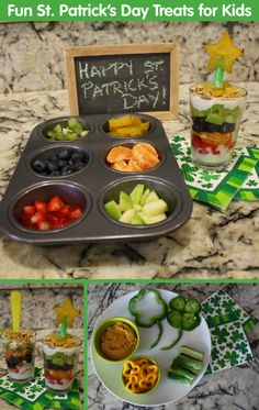 Fun St. Patrick's Day Treats for Kids - Rainbow Parfaits and Pot 'O Gold Veggies