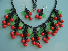 Assembled Bakelite Celluloid Necklace & Earrings Cherries