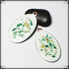Mojito... Handmade Torch Fired Enamel Charms Beads Glass Oval Copper Earring Pair Jewelry Supply Teal Aqua Mint Green Tan Sand White…