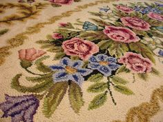 """vintage hand hooked wool rug shabby chic cottage floral motif . HUGE size 80"""" x 48"""" hooked by hand gold and ochres rose and olives"""