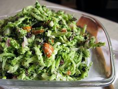 Crunchy broccoli coleslaw with almonds & currants. A yummy go-to for pulled pork sandwiches or wings.