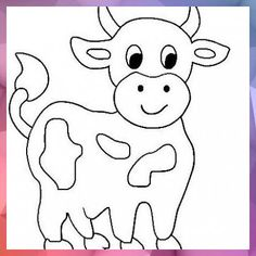 cow+printable+coloring+pages Cute Cow Animal Coloring Books For Kids Drawing Farm Animal Coloring Pages, Coloring Book Pages, Coloring Sheets, Cow Drawing, Drawing For Kids, Cow Cartoon Drawing, Printable Images, Free Printable