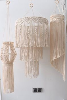 Items similar to wall hanging macrame light on Etsy,Lighting hanging macrame - wedding - Modern macrame - housewarming gift - Macrame wall decor - Boho How to select a lamp for family area and bedroom? Macrame Design, Macrame Art, Macrame Projects, Art Macramé, Luminaire Mural, Boho Diy, Macrame Patterns, Etsy, Decoration