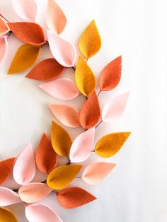 Spring / Summer Wreath, Bohemian Style - Front Door Wreath - Felt Wreath - Peach/Coral/Gold Wreath - Inches in Total Diameter Gold Wreath, Diy Wreath, Easter Wreaths, Holiday Wreaths, Wreaths For Front Door, Door Wreaths, Fall Crafts, Crafts To Make, Christmas Craft Show