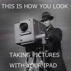 Ironic iPad Photographers meme. retro Style.