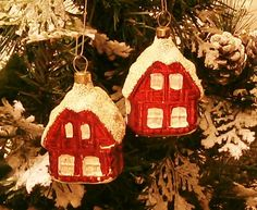 Set of 2 Vintage  Czechoslovakia Christmas Ornaments; Mercury Glass, Cottage House, Hand Blown Painted/Mid Century Collectible Holiday Decor