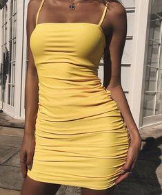 Kaximil Women's Sexy Strap Balckless Sleeveless Ruched Mini Bodycon Club Dresses Dressy Outfits, Fashion Outfits, Yellow Outfits, Yellow Clothes, Cute Dresses, Casual Dresses, Dresses Dresses, Outfit Goals, Yellow Dress