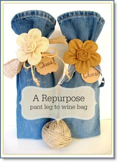 Wine Bag Repurpose – from pant legs to wine bags
