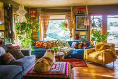 Chasity Kelly shares her colorful, maximalist bohemian home on her farm in Colorado. We love her bold use of color, textures, and indoor jungle. Bohemian House, Bohemian Decor, Hippie House Decor, Bohemian Interior Design, Boho Life, Hippie Living Room, Bohemian Living Rooms, Colorful Apartment, Hippie Apartment Decor