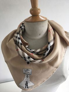 BURBERRYS SIGNATURE NOVA CHECK GOLD RED BLACK WHITE HAND ROLLED SILK SCARF #Burberry #Scarf