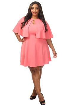 Plus Size Caped A-line Dress
