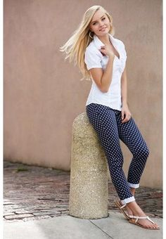 This outfit is cute and gap currently has polka dot skinny jeans that look just like this for Elle!