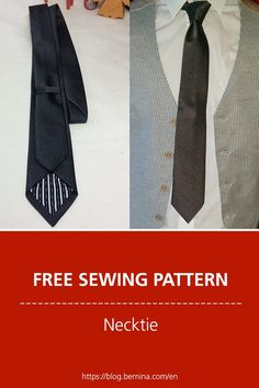 Free sewing pattern and instructions for a necktie Sewing Patterns Free, Free Sewing, Clothing Patterns, Sewing Tutorials, Free Pattern, Crochet Blanket Patterns, Crochet Stitches, Necktie Pattern, Make A Tie