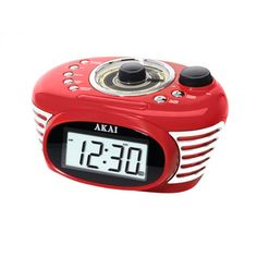 Akai Retro Alarm Clock Radio-Red. * Autoset* Manual DST* Time Zone Selection* FM Analogue Radio* Sleep Timer and Nap Timer* Single Alarm* 3 Mode jAlarm Setting (Everyday/ Date of Week/ Weekend)* Wake to Buzz or Radio* Display Feature Selection: 12/24hr. Month / Date* Battery Low Indicator* Line-in Function* LCD Display with Backlight and Dimmer* Extendable Antenna* Snooze function