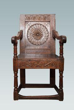 Charles I oak carved armchair, Marhamchurch antiques