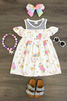 White Unicorn Off Shoulder Dress - Sparkle In Pink Kids Outfits Girls, Toddler Outfits, Girl Outfits, Little Girl Fashion, Kids Fashion, Latest Fashion, Fashion Trends, Little Girl Dresses, Flower Girl Dresses