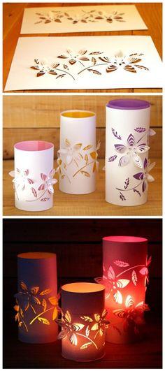 DIY Dimensional Paper Lanterns Tutorial | DIY Tag - No meio pode ser usado um copo de vidro com uma vela