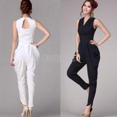 $17.10 Fashion Restore V Collar Sleeveless Womens Girl Slim Haroun Long Pants Vest Jumpsuits