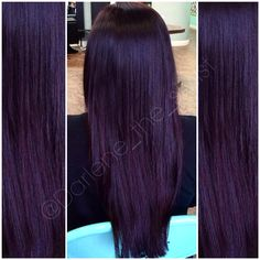 -Deep violet plum haircolor Deep violet plum haircolor See it Deep Violet Hair, Violet Hair Colors, Dark Plum Hair, White Hair, Long Wavy Hair, Braids For Long Hair, Pelo Color Morado, Beautiful Hair Color, Hair Color And Cut