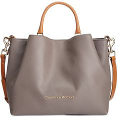 Dooney & Bourke Large Barlow Satchel ($368) ❤ liked on Polyvore featuring bags, handbags, bolsas, taupe, brown leather tote, brown satchel purse, leather satchel handbags, leather tote handbags and brown leather tote bag