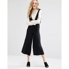 Mango Culotte Jumpsuit (1,740 INR) ❤ liked on Polyvore featuring jumpsuits, black, plunge romper, tall jumpsuit, playsuit romper, mango jumpsuit and playsuit jumpsuit