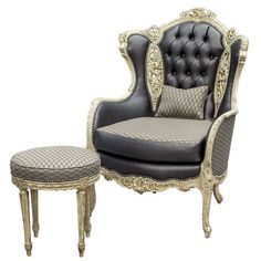 Vintage Italian Hand Carved Fireside Wing Chair with Footstool | From a unique collection of antique and modern wingback chairs at http://www.1stdibs.com/furniture/seating/wingback-chairs/