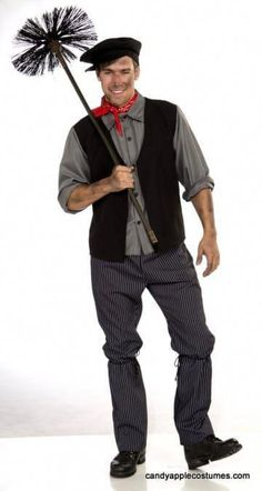 Chimney Sweep Costume Mens Victorian Fancy Dress Edwardian Bert Poppins Outfit for sale online Disney Costumes For Men, Sexy Halloween Costumes For Men, Halloween Costume Contest, Adult Costumes, Halloween Ideas, Scarecrow Costume, Boy Halloween, Christmas Costumes, Mary Poppins Disfraz