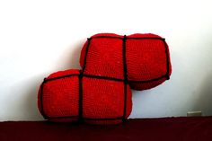 READY TO SHIP Red Tetris Blocks and Pieces Custom Available - Game Pillow - Classic Game by TheStitchQueen