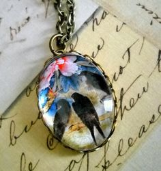 GLASS Art Photo Bird Trio Necklace with a 24 by lucindascharms, $12.50