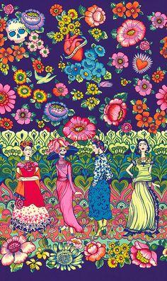 Frida la Catrina from the Folklorico collection by DeLeon Design Group for Alexander Henry Diego Rivera Frida Kahlo, Frida And Diego, Design Textile, Design Floral, Yoga Studio Design, Frida Art, Mexican Folk Art, Beautiful Artwork, Pattern Art