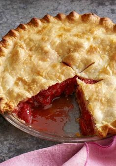 Fresh Strawberry-Rhubarb Pie – Rhubarb ready for the picking? Put it to delicious use in this dessert recipe, prepped for the oven in just 15 minutes!