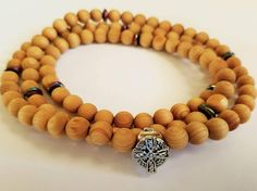 Orthodox Christian Chotki, 100 Hand Carved Cedar Wood Beads, Stainless Steel Celtic Cross, Hematite Accents, Prayer Rope-Komboskini