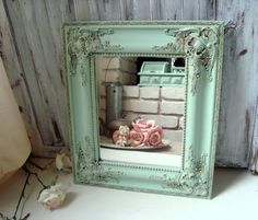 Mint Green Ornate Mirror Pastel Green Vintage by WillowsEndCottage, $62.00