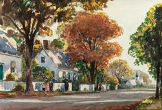 Fine Art - Work on Paper:Watercolor, ANTHONY THIEME (American, 1888-1954). Walking Home from Church,Rockport. Watercolor on paper.
