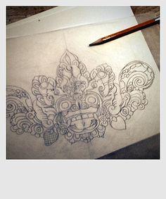 Barong Mask Drawing
