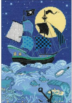 Riolis Pirate Ship - Cross Stitch Kit. Cross stitch kit featuring a Pirate Ship on the ocean with a treasure chest, fish, and a shark. This cross stitch kit inc