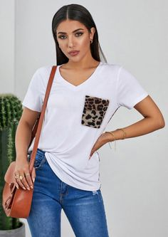 Our CASUAL ANIMAL POCKET STYLE T-SHIRT  feature leopard print sleeves and back and pockets, which will make you feel good and charming to be a beautiful view wherever you wearing it. Must have piece in your wardrobe and a wonderful gift for friend Animal Print T Shirts, Gifts For Friends, Must Haves, How To Make, How To Wear, Blouses, V Neck, Pockets, Casual