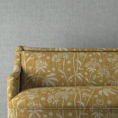 Astrea 004 - Yellow Colour Family - Fermoie Floral Upholstery Fabric, Linen Fabric, Country Furniture, Printed Linen, Simple Shapes, Fabric Samples, Soft Furnishings, Neutral Colors, Love Seat
