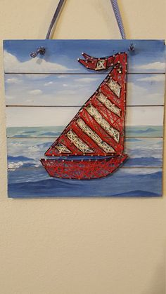 Red and white sailboat by JDLeeArts on Etsy