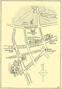 map to slightly foxed books, south kensington, london