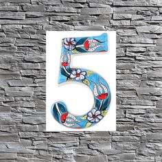 Tile House Numbers, Ceramic House Numbers, Mailbox Numbers, Door Numbers, Ceramic Houses, Ceramic Clay, Wall Art Decor, Plate, Sign