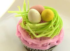 I saw some edible Easter grass at Walmart the other day---and found this cute way to use it.