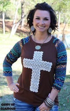 Brown Baseball Tee with Crochet Cross and Tribal Sleeves