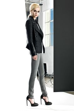 Black Tweed and Leather Jacket + White Double Layer Tee + Nocturnal Jazz Signature Skinny Jean