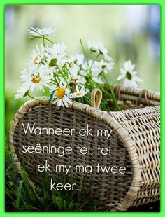 Afrikaanse Inspirerende Gedagtes & Wyshede: Wanneer ek my seeninge tel, tel ek my ma twee keer. Happy Mother Day Quotes, Mother Daughter Quotes, Happy Mothers Day, Bible Verses Quotes, Mom Quotes, Qoutes, Afrikaanse Quotes, Goeie Nag, Quotes About Motherhood