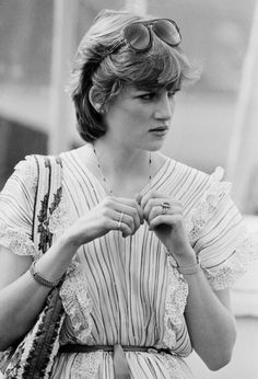 July 8, 1981:  Lady Diana Spencer at Windsor watching her fiancé, Prince Charles in a polo match.