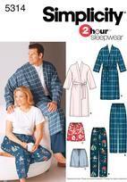 Simplicity 5314 Women's & Men's Plus Size Sleepwear