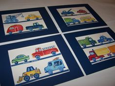 transportation cars trucks wall art police firetruck tow bus 4 art prints matted navy 11x14. $38.00, via Etsy.