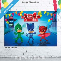 "PJ Masks Banner, PJ Masks Birthday Backdrop, PJ Masks Party Photo Booth, Pj Mask, Poster, 60""(w) x 40""(h), Personalized, Download and Print by Bigpartystudio on Etsy"