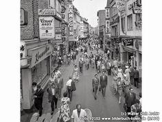 Hohe Str., 50667 Köln - Altstadt-Nord (1960) Cologne Germany, Times Square, Street View, History, Ring, Travel, Post War Era, Vintage Advertisements, Vintage Photos
